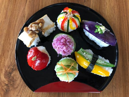 Vegan sushi cooking in kimono