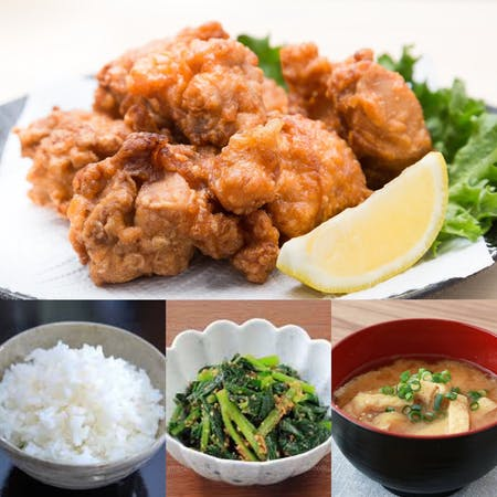 karaage teishoku and pot cooked rice lesson