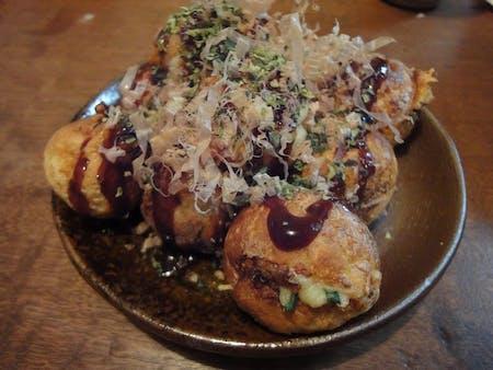 Takoyaki = seafood pancake poppers