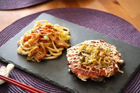 Make Veggie Okonomiyaki & Yaki-Udon & Matcha Pudding