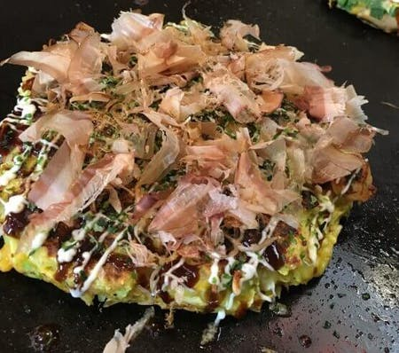 GOOD location:Okonomiyaki(Japanese pan cake)