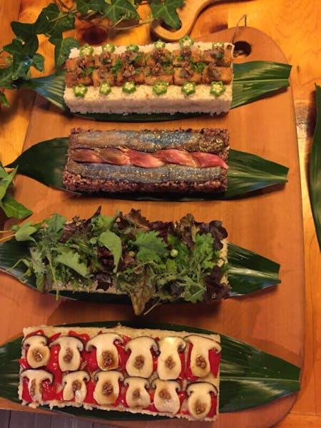 Homemade vegetable sushi