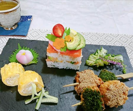 Colorful Oshi Sushi cooking near character\'s forest