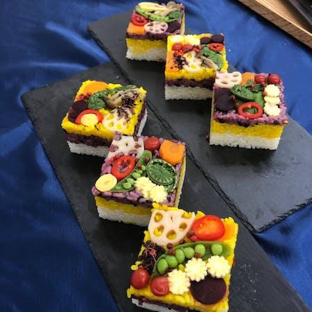 Colorful Oshi sushi (Pressed sushi), Japanese style soup,  3 Side dish
