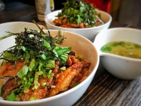 Nagoya special dish Hitsumabushi style bowl and Japanese sweets Anmitsu