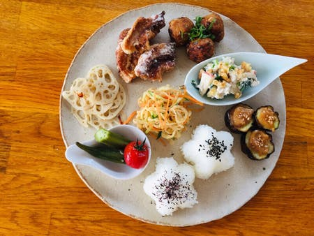 Assorted vegan plate based on Shojin ryori
