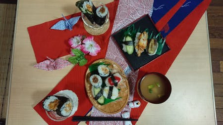 Vegetarian Sushi cooking