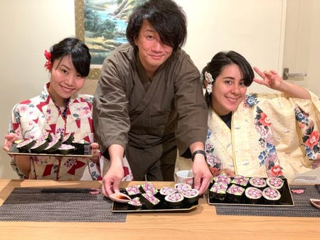 Decorative-sushi-roll 2kind in kyoto with Local chef