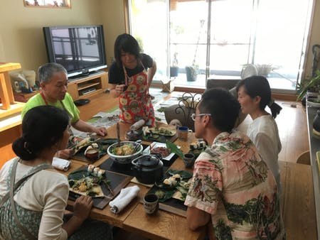 natural Japanese traditional foods and sweets and wild grassed tea
