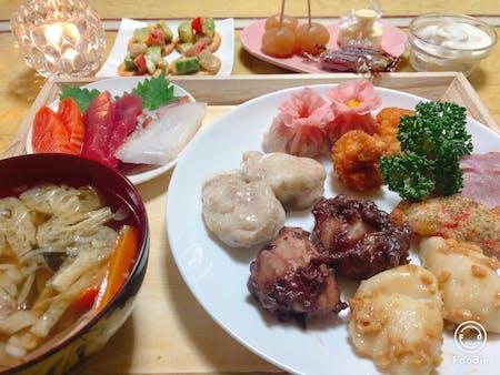 Mochi,Miso soup,Teriyaki chicken