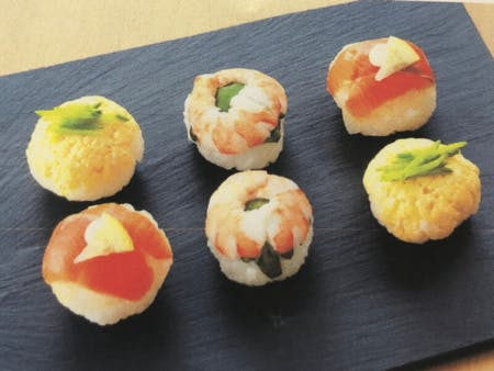 Homemade Temari-zushi (balled-shaped sushi)