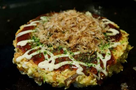 Okonomiyaki cooking class and tea ceremony experience