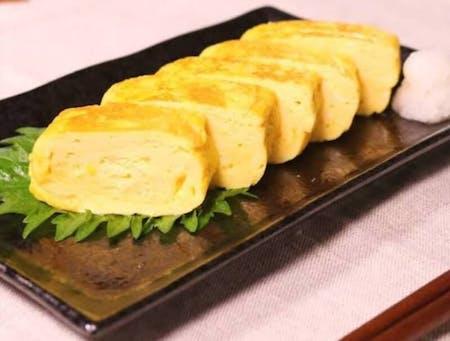 dashi maki tamago(Japanese rolled egg)、miso soup,hitomoji guruguru