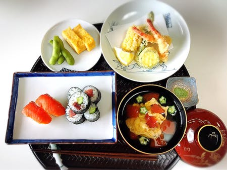 Traditional Japanese cuisine (Sushi, Teriyaki, Tamagoyaki and Soup)
