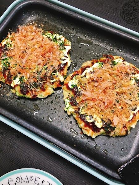 Homemade Okonomiyaki cooking