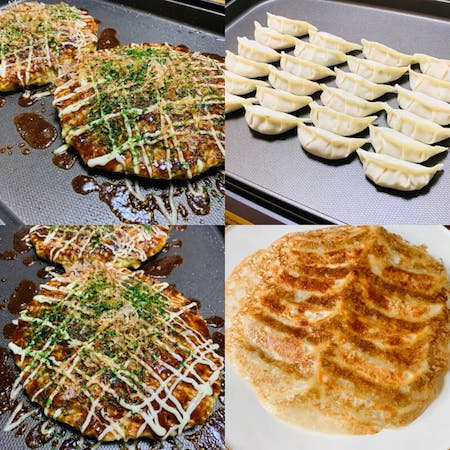 【Okonomiyaki and Gyoza】You can make two types of dishes: Okonomiyaki and Gyoza