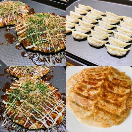 【Okonomiyaki and Gyoza】You can make two types of dishes: Okonomiyaki and Gyoza