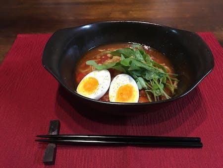 Tomato Ramen, and Gyoza cooking at home