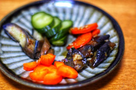 Sushi roll  and fermented Japanese food for vegetarian/vegan