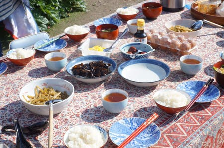 Lunch make with traditional Japanese oven  in rural Kyoto