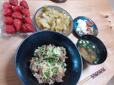 Let\'s cook Gyudon and miso soup with Mom at Kyoto:)