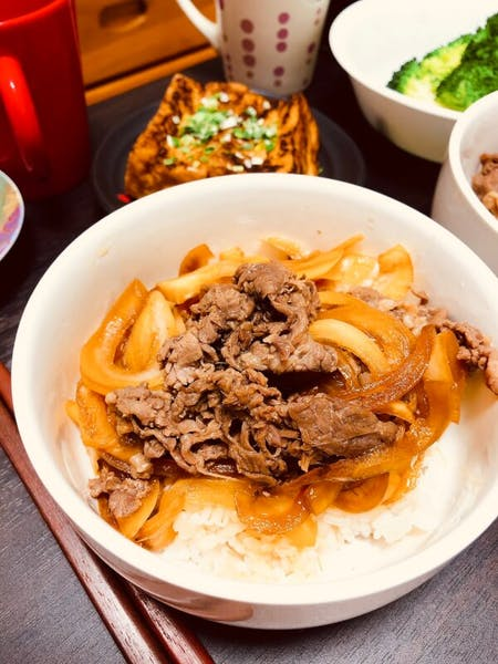 """Gyudon"" popular rice bowl menu and ""Mitarashi dango"" Japanese traditional sweets"