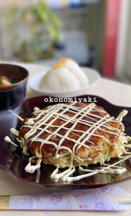 Osaka soul food. Okonomiyaki \r\nonigiri miso soup