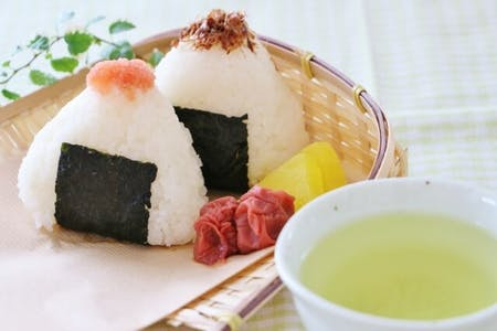 Enjoy Japanese Rice ball and  Tea!