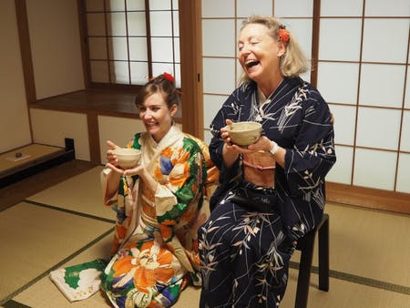 Tea Ceremony with kimono in old Zen Temple in Miyajima