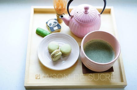 Matcha flavor sweets making and tea ceremony experience