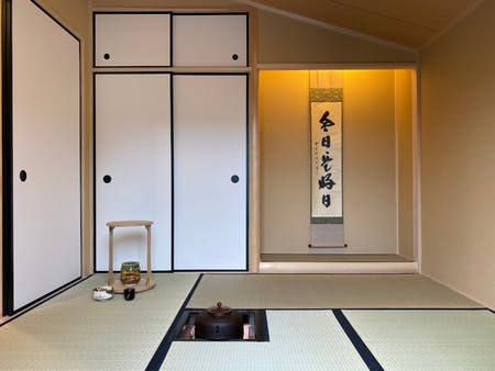 Tea ceremony in the Japanese tiny house