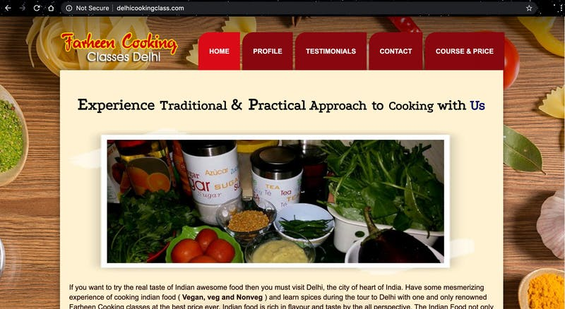 Farheen Cooking Classes Delhi