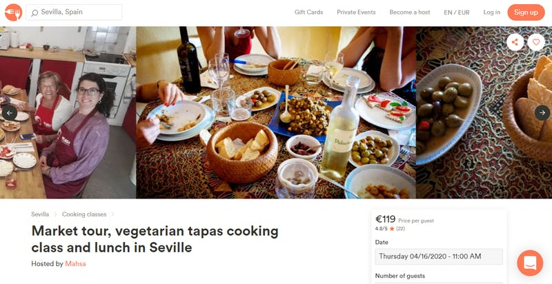 Market Tour, Vegetarian Tapas Cooking Class, and Lunch at Sevilla
