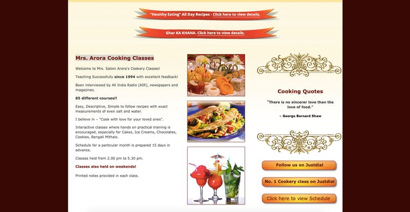 Mrs. Arora Cooking Classes