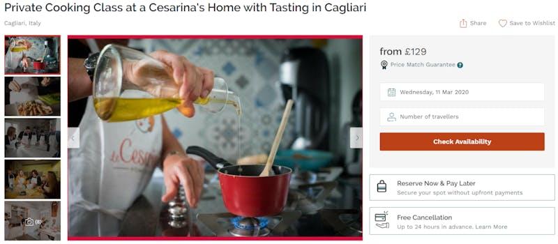 Homemade food at Cagliari
