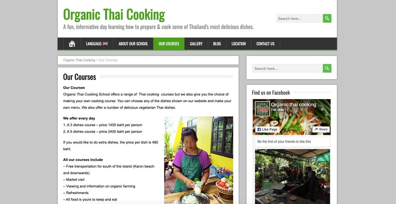 Organic Thai Cooking Courses
