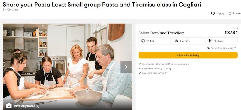 Tiramisu and pasta class