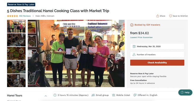5 Dishes Traditional Hanoi Cooking Class with Market Trip