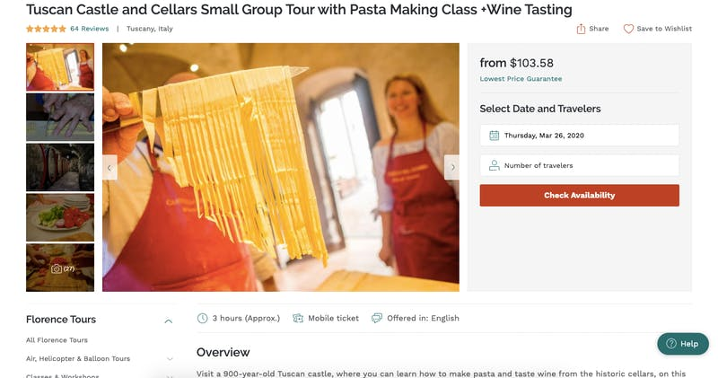 Tuscan Castle and Cellars Small Group Tour with Pasta Making Class + Wine Tasting