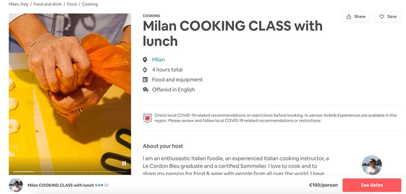 Milan Cooking Class with Lunch