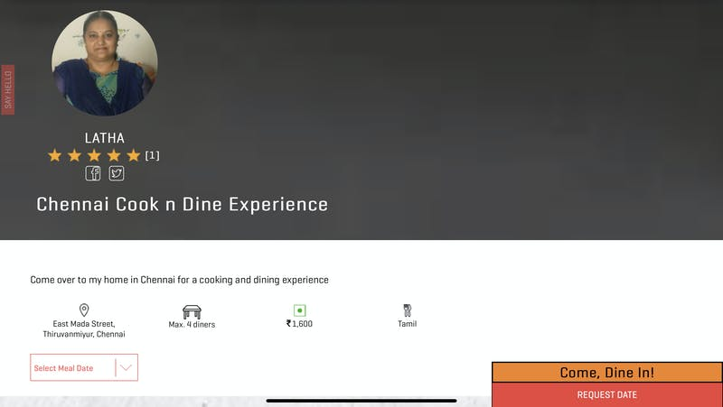 Chennai Cook and Dine Experience