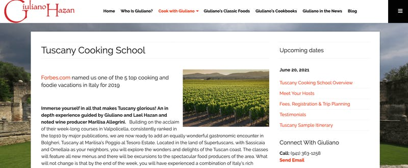 Giuliano Hazan's Tuscany Cooking School