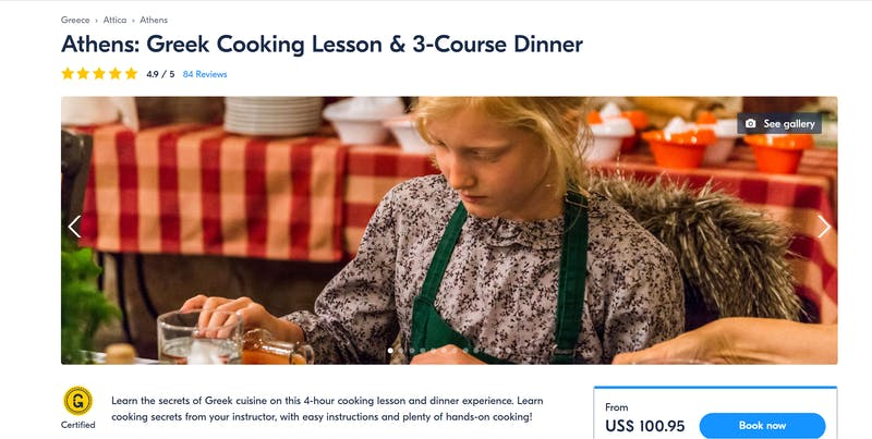 Greek Cooking Lesson and Three Course Dinner