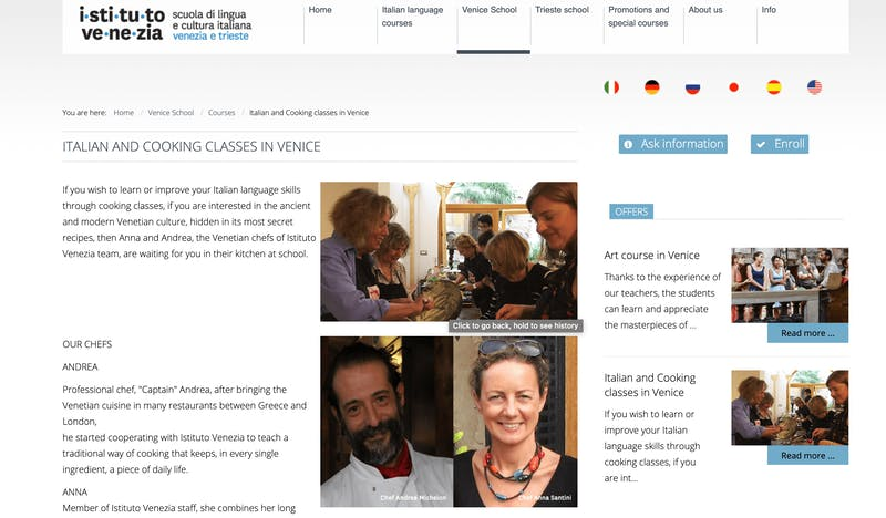 Italian Language and Cooking Classes in Venice