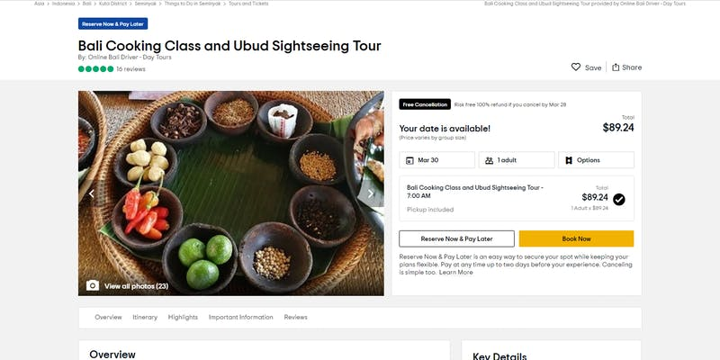 Bali Cooking Class and Ubud Sightseeing Tour by Online Bali Driver Day Tour
