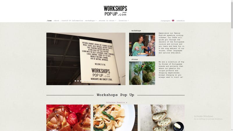 Pop Up Workshops Cooking Classes