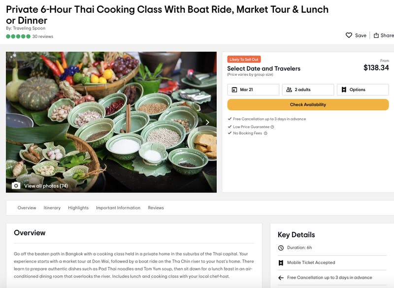 Traveling Spoon - Private 6-Hour Thai Cooking Class With Boat Ride, Market Tour & Lunch or Dinner