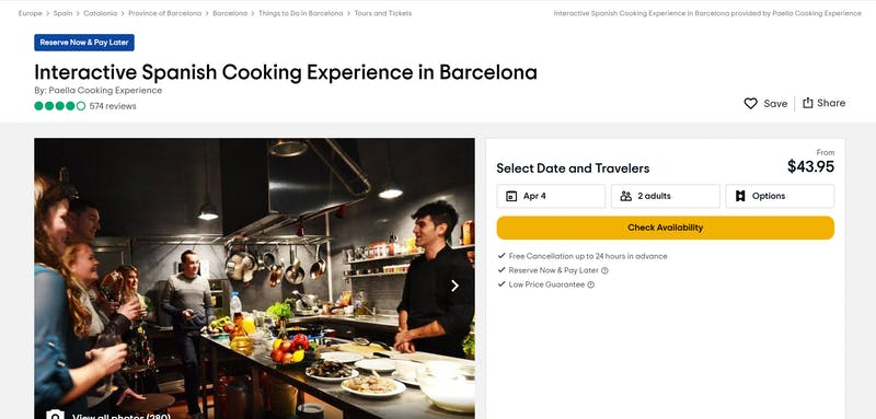 Spanish Cooking Experience in Barcelona