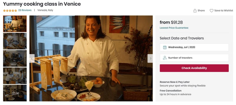 Yummy Cooking Class in Venice