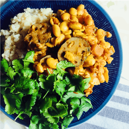 Vegan Real food/ Soybeans Curry with Detox tea